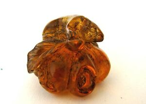 Antique Japanese Amber Netsuke Mouse Mice In Out Of Pumpkin With Leaf Signed