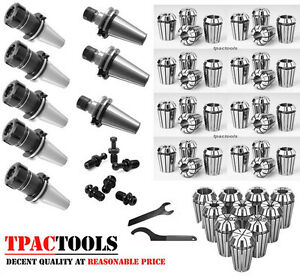 Haas Cat40 5pc Er32 3pc Er16 Collet Chuck And 29pc Collets Package New
