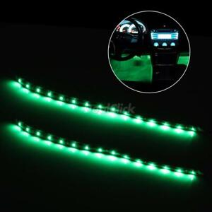Universal Car Interior Decoration Under Dash Floor Led Light Strip Green 2x12