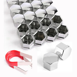20 Pcs 17mm Chrome Wheel Lug Nut Bolt Cover Caps Removal Tool For Vw Skoda