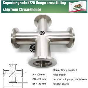 Superior Grade Kf25 Cross 4 Ends With Equal Kf25 Nw25 Qf25 Flange High Vacuum