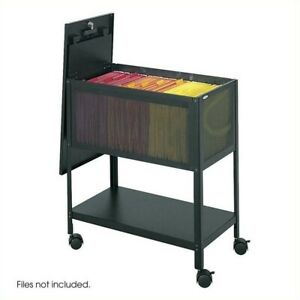 Filing Cabinet File Storage Tub With Locking Top Mobile Letter Black