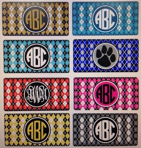 Argyle Personalized Monogrammed License Plate Car Tag Initials Custom New