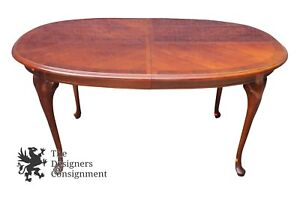 Thomasville Winston Court Cherry Dinning Room Table Queen Anne Style Parquetry