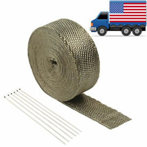 2 50ft Titanium Basalt Manifold Header Exhaust Pipe Heat Wrap 6 Ties Kit