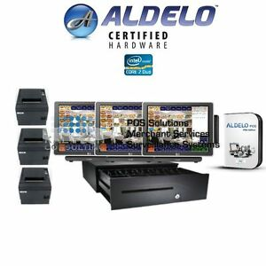 Aldelo Pro Restaurant Bar Pizza Pos 3 Stations Complete Windows 7 New 3gb ssd Hd