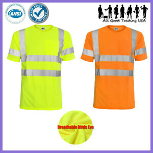 Hi Vis T Shirt Ansi isea Class 3 Road Work Safety Short Sleeve High Visibility