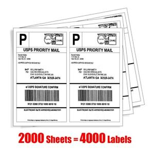 4000 Half Sheet Shipping Labels 8 5x5 5 Self Adhesive For Usps Paypal Ebay Dhl