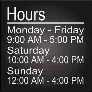Custom Business Store Hours Vinyl Window Decal 11x11 Sticker Sign Glass Door
