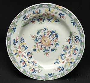 Antique Mid 18 C English Delft Polychrome Painted Plate