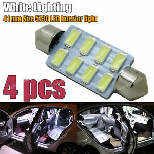 4 Pc 5730 Led Xenon White Interior Map Dome Light 578 211 2 Festoon Bulb 4d