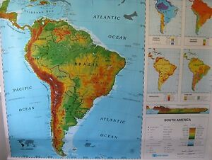 New Nystrom Pull Down School Map South America One Layer Map Great Condition