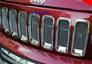 For Jeep Patriot 11 17 Chrome Front Mesh Grille Vent Hole Frame Trim Cover