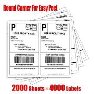 Rounded Corner 4000 Half Sheet Shipping Labels Self Adhesive 8 5x5 5 For Ebay
