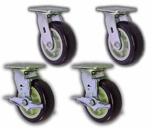 4 Pack 6 X 2 Swivel Plate Caster W Blue Polyurethane Wheel