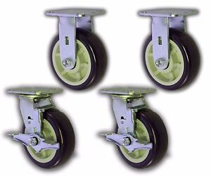 Set Of 4 Plate Caster W 6 X 2 Polyurethane Wheel Swivel rigid Trolley Cart