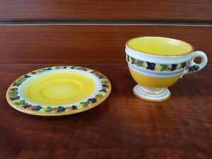 Set Of 5 Mini Hand Painted Tea Cup And Saucer Italy 228
