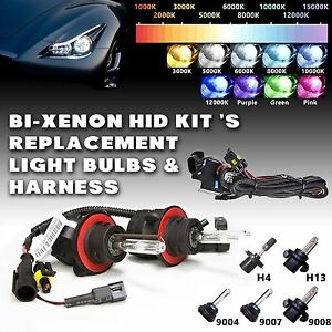 Two Bi Xenon Hid Kit S Replacement Light Bulbs Hi Lo Harness H4 9004 9007 H13