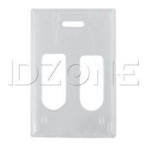 Qty 50 New Vertical Clear Rigidwear 2 card Badge Holders 1840 6560