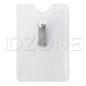 Qty 100 Vertical Clothing friendly Clear Vinyl Badge Holder 1809 1200