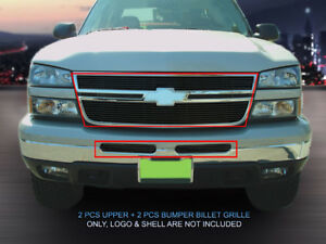 Black Billet Grille Grill Combo For 2005 2007 Chevy Silverado 1500 2500 3500