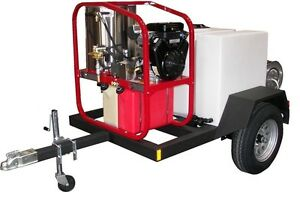 Commercial Hot Pressure Washer Trailer 200 Gallons 3 000 Psi 4 8 Gpm