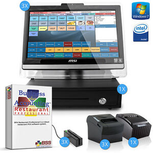 Complete 3 Station Restaurant Point Of Sale Pos System W Printers