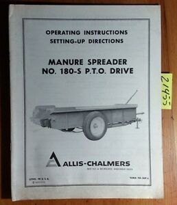 Allis chalmers 180 s Pto Drive Manure Spreader Owner s Operator s Manual Tm 369a