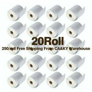 20 Rolls Direct Thermal Labels 4x6 250 roll For Zebra Eltron 2844 Zp450 Zp505