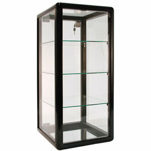Counter Top Display Case Silver Finish Lock And Three Shelves Brand New