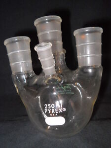 Corning Toepre Pyrex Glass 250ml 5 neck Round Bottom Flask 24 40