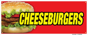 Cheeseburgers Banners Hamburger Meat Buns Concession Stand Sign 18x48