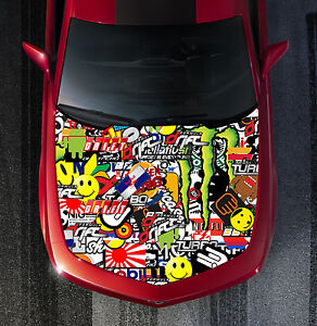 H116 Sticker Bomb Hood Wrap Wraps Decal Sticker Tint Vinyl Image Graphic