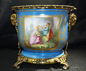 French Gilt Bronze Mounted Sevres Style Navy Blue Porcelain Cache Pot Late 19thc