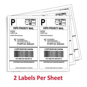 200 4000 Half Sheet 8 5x5 5 Shipping Labels 2 sheet Self Adhesive For Usps