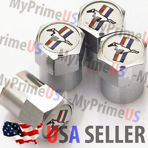 Mustang Ford Logo Valve Stem Caps Covers Car Tire Chromed Wheel Metal Emblem Usa