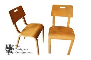 2 Mid Century Modern Original Thonet Bentwood Classroom Chairs Eames 50s Stacks