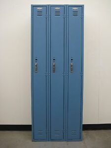 Used Blue School Metal Lockers 27 w X 12 d X 60 h