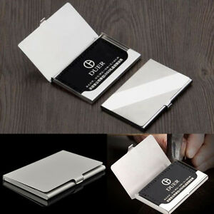 Hot Silver Pocket Business Name Credit Id Card Holder Metal Box Cover Case Gift