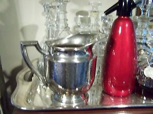 Arts And Crafts Style Pounded Silver Depression Era Water Pitcher Vase Vintage