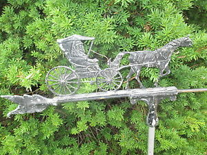 Antique Vintage Amish Horse Buggy Weather Vane Vhtf Nice Old Piece Of History