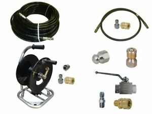 Sewer Jetter Cleaner Kit Ball Valve 100 X 1 4 Hose Reel And Nozzles
