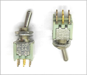 Lot Of 2 Nos Alco Tt23n2t tiny 2 Pole Submini On on Switches Round Handle Ms