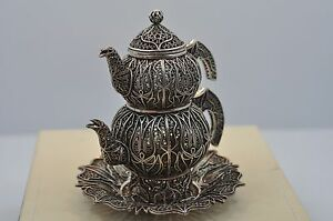 Hand Crafted Sterling Silver Miniature Decorative Tea Pot Set Made In Turkey