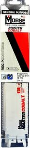 Morse Master Cobalt Reciprocating Saw Blade 9 x3 4 18 Tpi Rb918t50 50 Pack