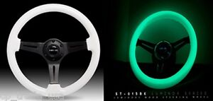 Nrg Steering Wheel 350mm Glow In The Dark Classic Luminor White Wood St 015bk Gl