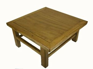 A Chinese Simple Wooden Square Coffee Tea Mahjong Kang Table Light Wood Color