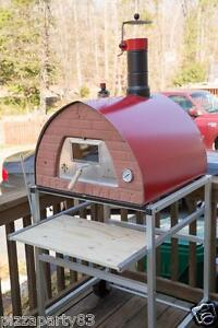 Pizza Party Oven Red Support With Wheels Glass Door 2 Pizza Peel Spacesave