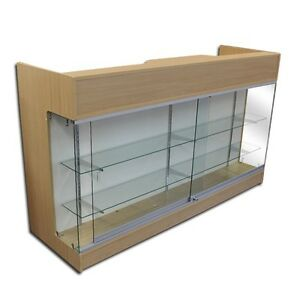 6 Maple Wooden Knockdown Showcase Pos Counter 21 d X 42 h