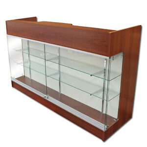 6 Cherry Wooden Knockdown Showcase Pos Counter 21 d X 42 h
